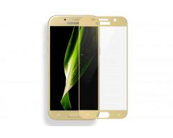 Защитное стекло на Samsung Galaxy A5 с золотыми рамками